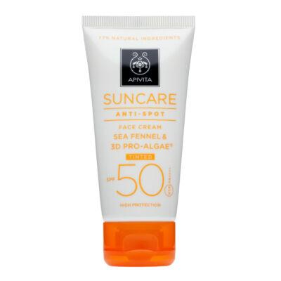 APIVITA SUN Színezett arckrém pigmentfoltok ellen SPF50+ 50 ml